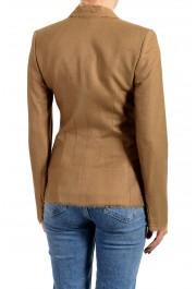 Versace Women's Sand Brown Silk Two Button Blazer Jacket: Picture 3