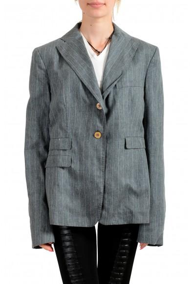 Malo Women's Gray Striped Silk Linen Button Down Blazer