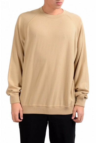 Malo Men's Beige Crewneck 100% Cashmere Pullover Sweater