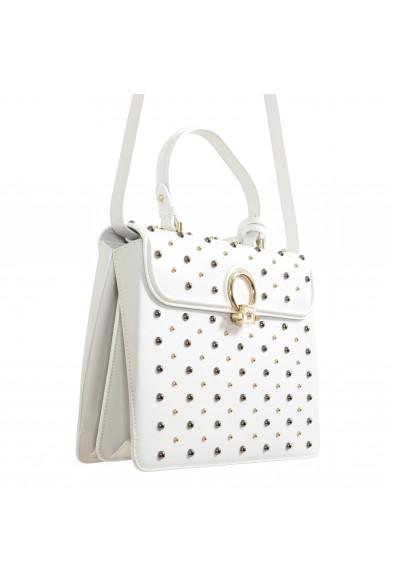Versace Women's White Studded Dv Leather Satchel Handbag Shoulder Bag: Picture 2