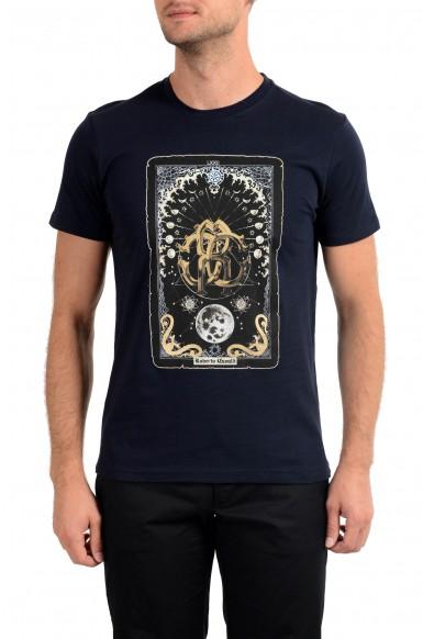 Roberto Cavalli Men's Navy Blue Graphic Print Crewneck T-Shirt