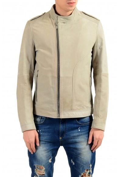 """Hugo Boss """"Landerson"""" 100% Leather Gray Men's Basic Jacket"""