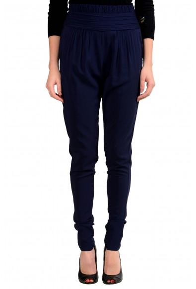 Viktor & Rolf Women's Dark Blue Pleated Casual Pants