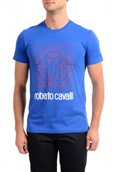 Roberto Cavalli Men's Royal Blue Graphic Print T-Shirt