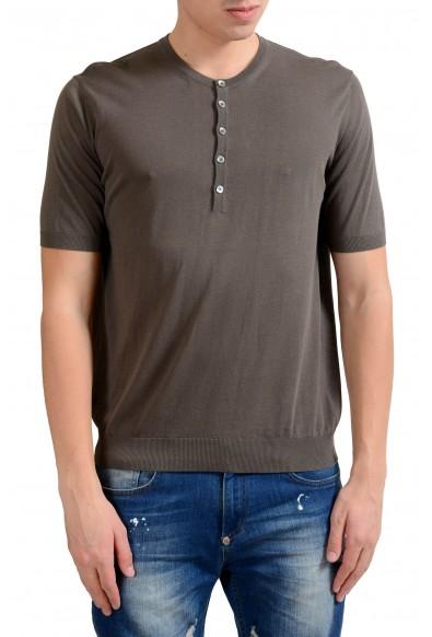 Malo Men's Brown Knitted Short Sleeve Henley Shirt
