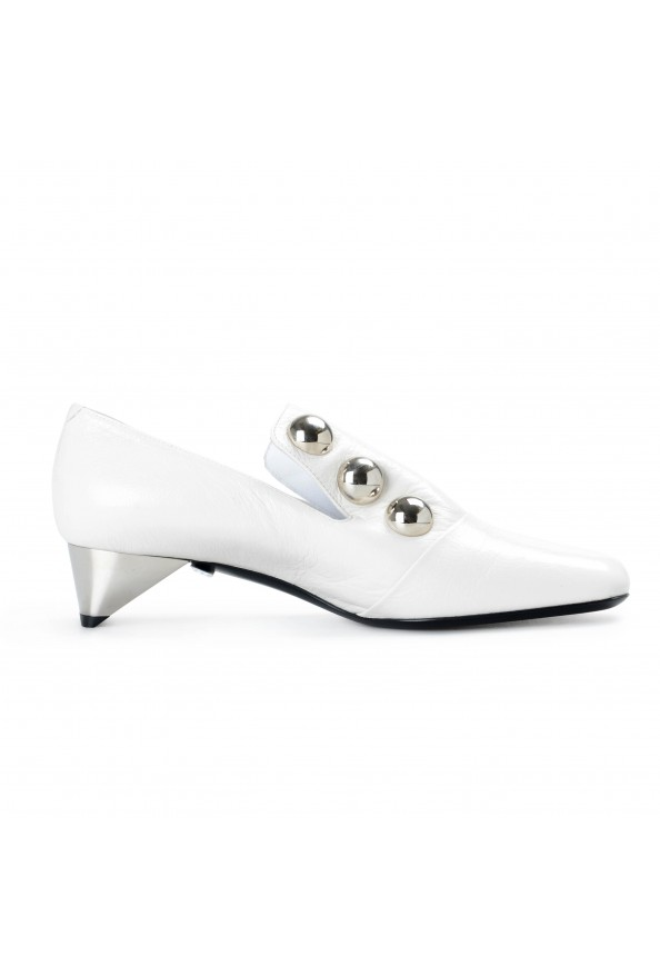 Burberry London Women's AMBRIDGE White Leather Heeled Pumps Shoes: Picture 2