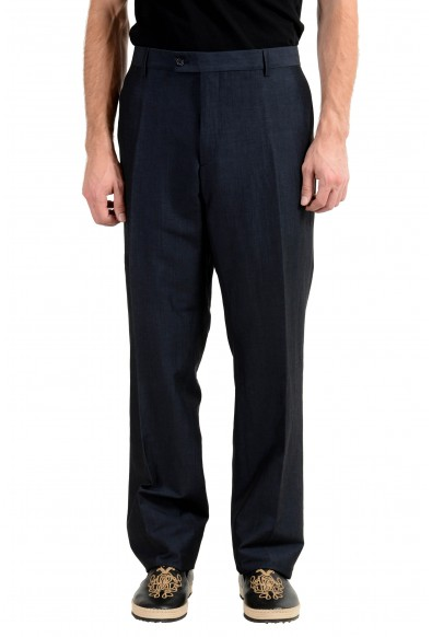 John Varvatos Men's Linen Wool Off Black Casual Pants