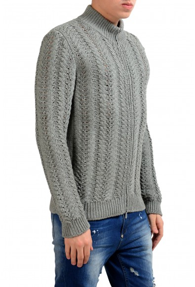 Malo Men's Silk Cashmere Gray Full Zip Heavy Knitted Sweater: Picture 2