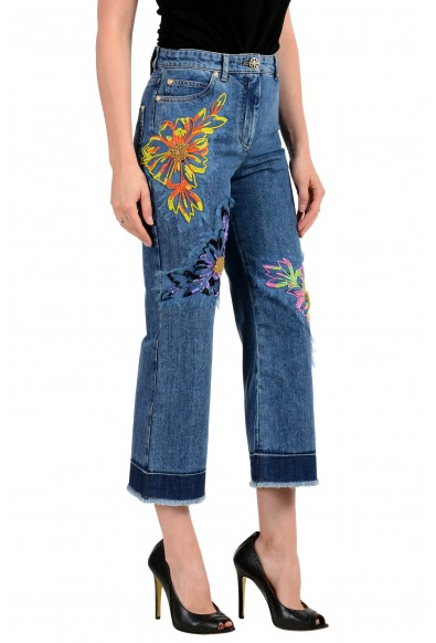 Versace Women's Blue Embellished Cropped Jeans : Picture 2