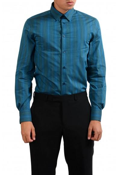 """Versace Collection """"Trend"""" Men's Striped Green Dress Shirt"""