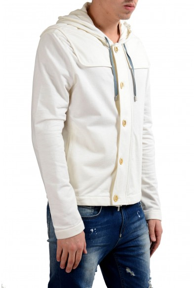 Malo Men's Cashmere White Hooded Button Up Light Jacket: Picture 2