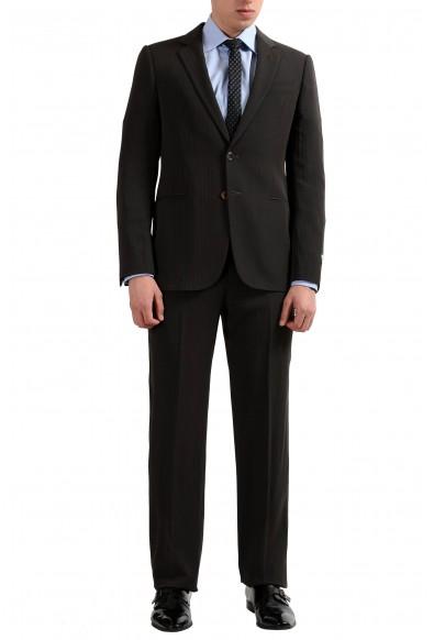 Armani Collezioni Men's Wool Brown Striped Two Button Suit