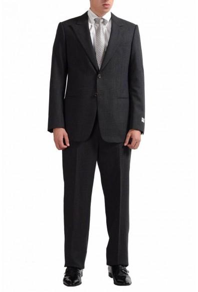 Armani Collezioni Men's 100% Wool Plaided Two Button Gray Suit