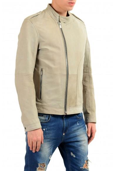 "Hugo Boss ""Landerson"" 100% Leather Gray Men's Basic Jacket: Picture 2"