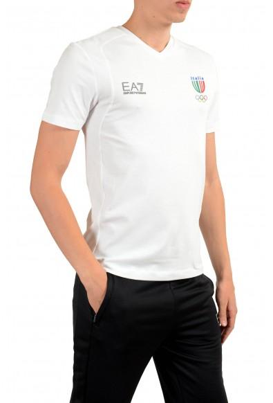 """Emporio Armani EA7 """"Italia Team"""" Men's White V-Neck T-Shirt : Picture 2"""
