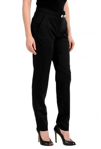 Versus By Versace Women's Black Wool Flat Front Pants: Picture 2