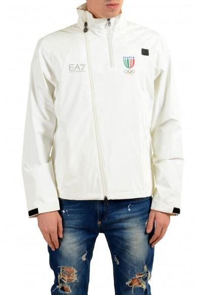 "Emporio Armani EA7 ""Italia Team"" Men's White Full Zip Hooded Windbreaker Jacket"