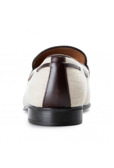 Salvatore Ferragamo Men's FAGGIO 4 Beige Canvas Leather Penny Loafers Shoes: Picture 2