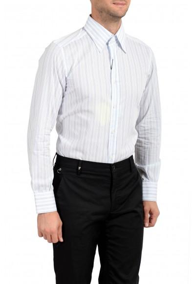 Dolce & Gabbana Men's White & Blue Striped Long Sleeve Button Down Dress Shirt: Picture 2