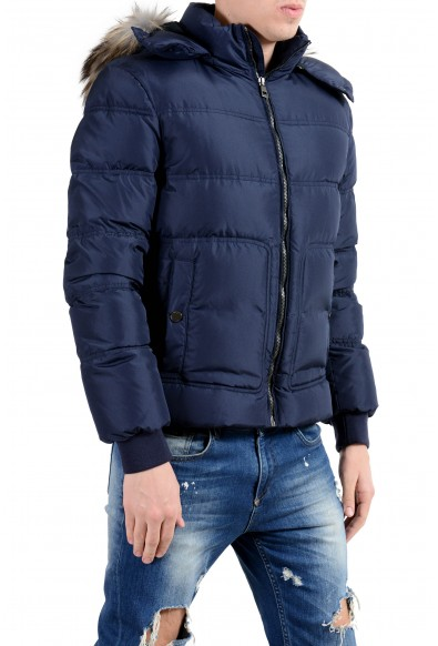 Versace Collection Men's Coyote Fur Down Blue Full Zip Hooded Parka Jacket: Picture 2