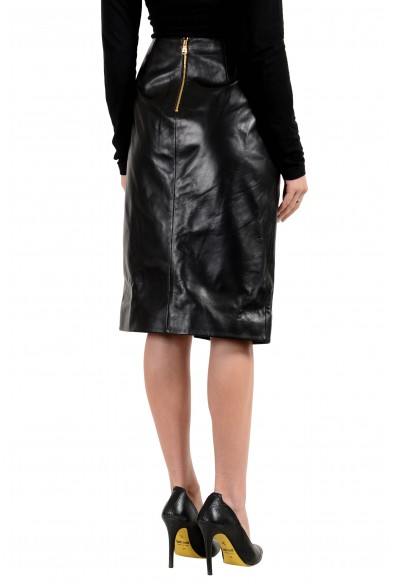 Versace Women's 100% Leather Black Pencil Skirt: Picture 2