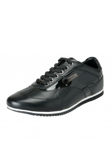 Versace Collection Men's Black Leather Fashion Sneakers Shoes