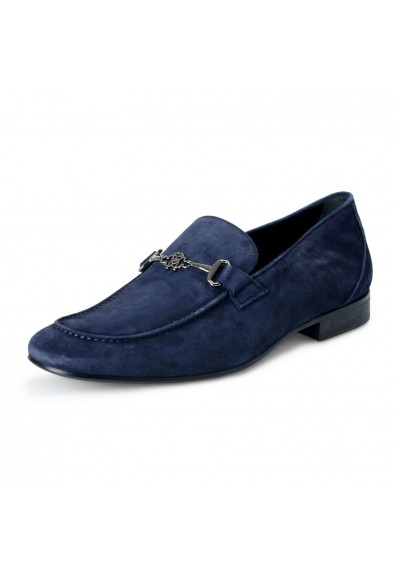 Roberto Cavalli Men's Blue Suede Leather Loafers Slip On Shoes