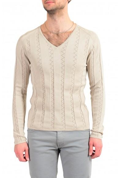 Malo Men's Beige Knitted V-Neck Pullover Sweater
