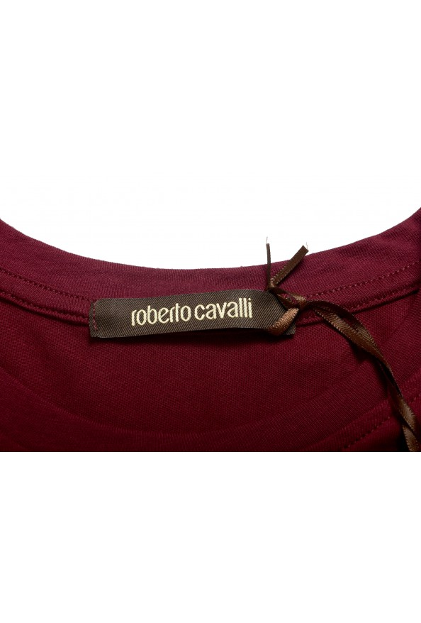 Roberto Cavalli Men's Burgundy Graphic Print Crewneck T-Shirt: Picture 6