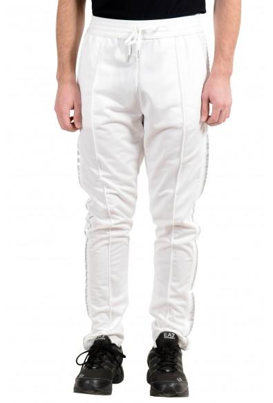 Roberto Cavalli Gym Men's White Decorated Fleece Track Sweat Pants