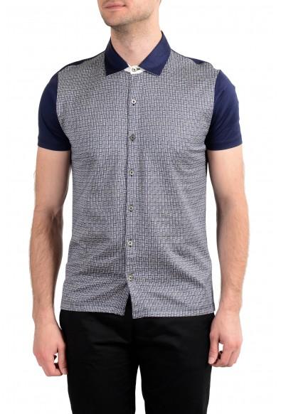 Malo Men's Blue Graphic Print Short Sleeve Casual Shirt