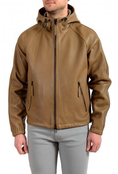 """Hugo Boss Men's """"Malvik"""" 100% Leather Beige Hooded Bomber Jacket"""