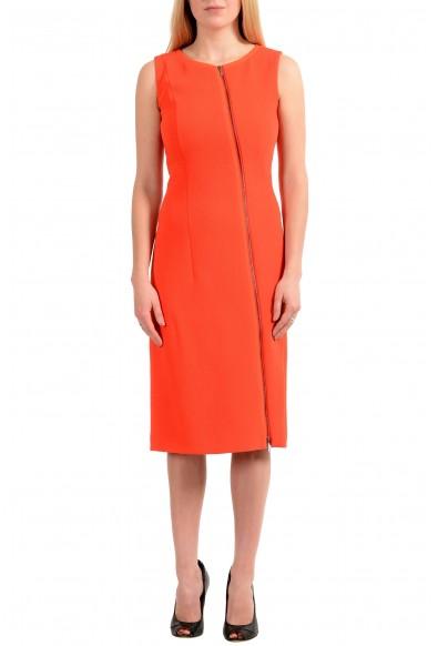 "Hugo Boss Women's ""Danafea"" Orange Zip Up Sleeveless Sheath Dress"