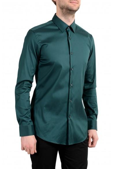 Hugo Boss Herwing Men's Green Extra Slim Long Sleeve Dress Shirt