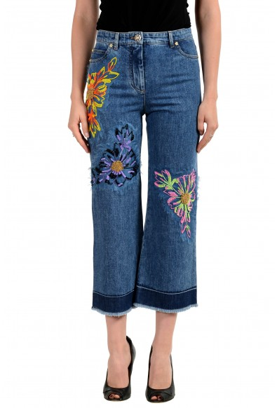 Versace Women's Blue Embellished Cropped Jeans