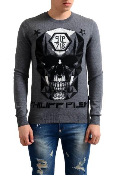 Philipp Plein Homme Limited Edition 100% Wool Men's Gray Sweater