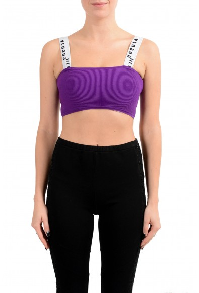 Versus by Versace Women's Purple Ribbed Cropped Top