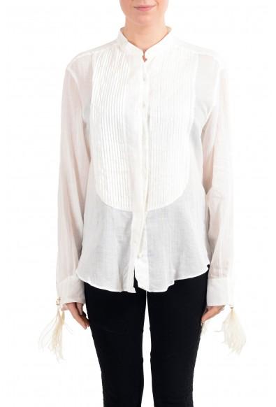 Roberto Cavalli Women's Off White Linen Long Sleeves Blouse Top