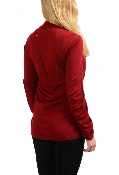 Maison Margiela 1 100% Wool Burgundy Women's Crewneck Sweater: Picture 2