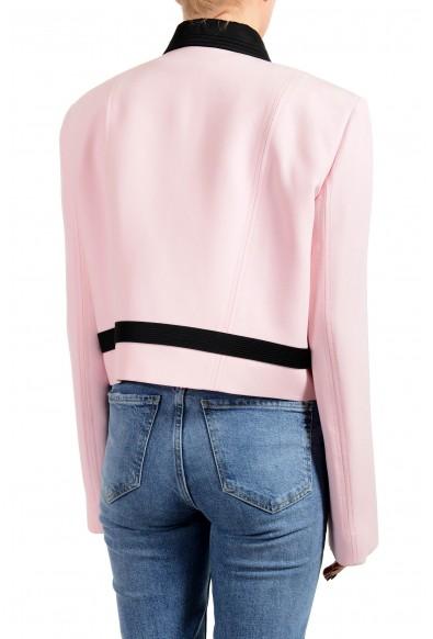Versace Women's Pink Wool Silk Button Down Blazer Jacket: Picture 2
