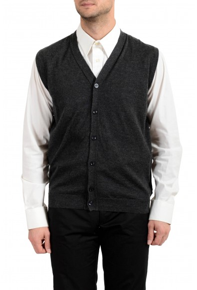 Kiton Men's Gray Silk Cashmere Sleeveless Cardigan Sweater
