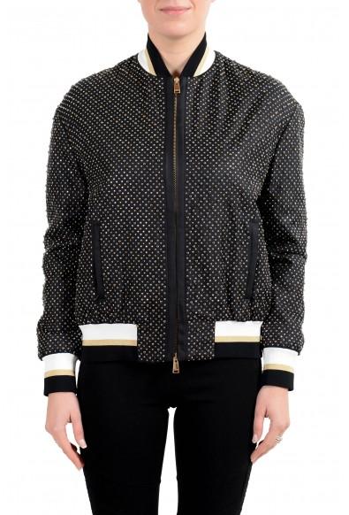 Versace Women's 100% Silk Black Studded Full Zip Bomber Jacket