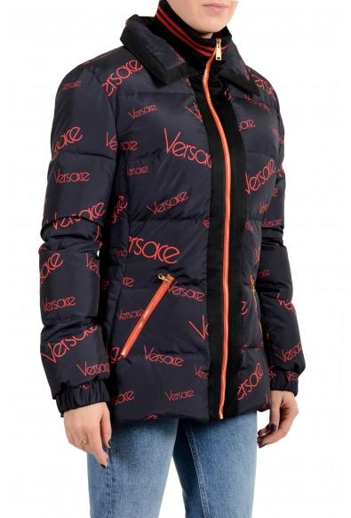 Versace Women's Blue Logo Print Full Zip Down Parka Jacket: Picture 2