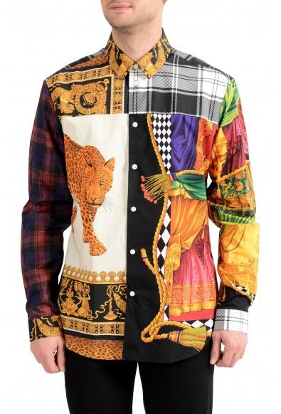 Versace Men's Multi-Color Barocco Print Long Sleeve Dress Shirt