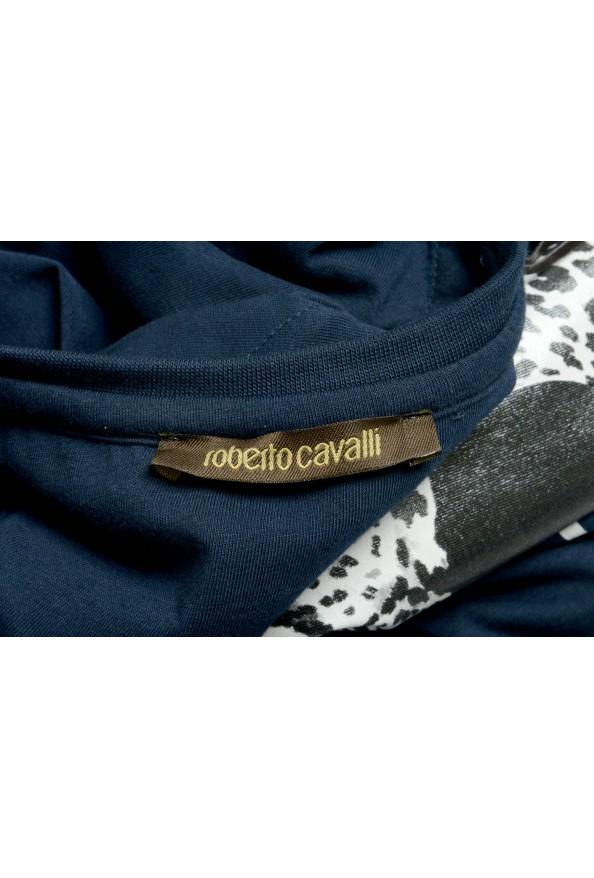 Roberto Cavalli Men's Blue Graphic Print Leopard T-Shirt: Picture 5