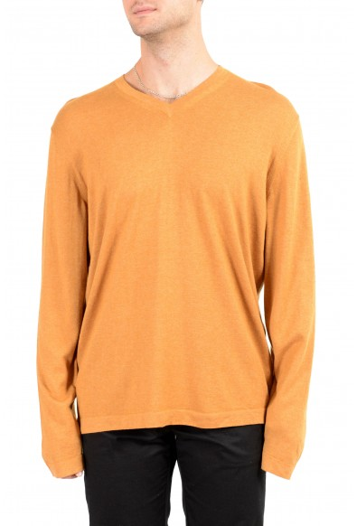 Malo Men's Brown Cashmere Long Sleeve V-Neck Pullover Sweater