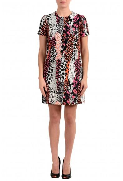 Versace Women's Silk Short Sleeve Jacquard Sheath Dress