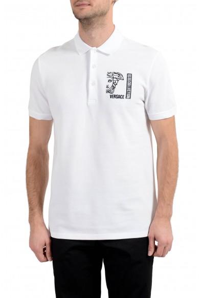 Versace Collection Men's White Logo Short Sleeve Polo Shirt