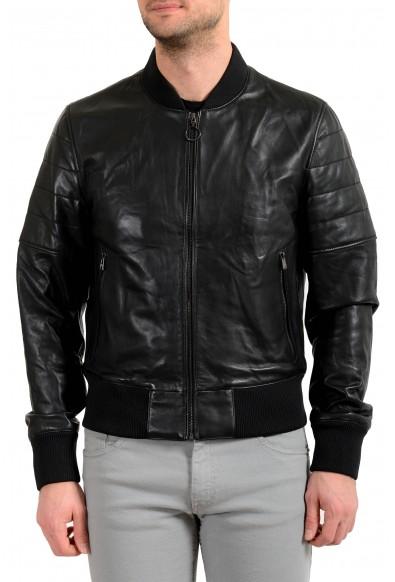 """Hugo Boss Men's """"Gipon"""" 100% Leather Black Bomber Jacket"""