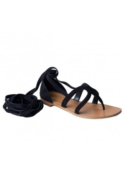 Prada Women's Black Suede Leather Wrap Around Gladiator Sandals Shoes
